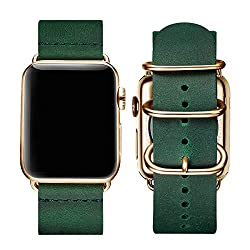 BesBand Retro Lederbänder Kompatibel mit Apple Watch Armband 42mm 44mm 38mm 40mm,Echtes Leder Vintage Armbänder Kompatibel für Männer Frauen iWatch Series5 Series4/3/2/1 (38mm 40mm, Olivgrün/Golden)