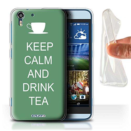 Stuff4 Gel TPU Hülle / Hülle für HTC Desire Eye LTE / Tee Trinken/Grün Muster / Bleib Ruhig Kollektion