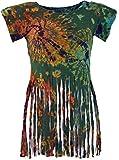 Guru-Shop Batik Hippie T-Shirt mit Fransen, Damen, Olive, Synthetisch, Size:38, Tops, T-Shirts, Shirts Alternative Bekleidung