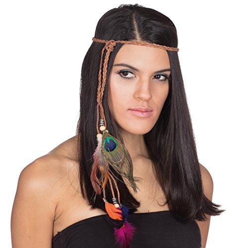 NET TOYS Indianerin Stirnband mit Federn Indianer Kopfschmuck Pocahontas Haarband mit Perlen Indianerschmuck Damen