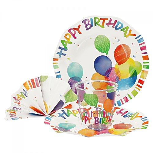 (MamboCat 52-tlg. Einweggeschirr Party-Set Happy Birthday | Pappgeschirr für 16 Personen: Pappteller + Becher + Servietten | für Festliche Anlässe und Partys)
