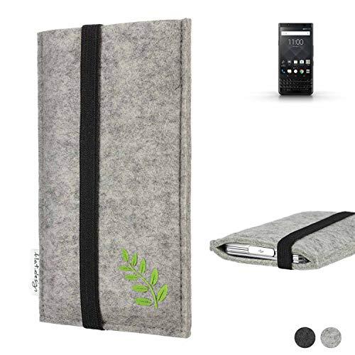 flat.design Handy Hülle Coimbra für BlackBerry KEYone Black Edition Made in Germany Handytasche Filz Tasche Case grün Blatt Blätter Natur