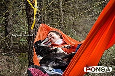 Ponsa 027365035108 - Kit para colgar hamacas sin cuerdas. 2 amarres de alta resistencia y 2 protecciones textiles, incluye bolsa de transporte