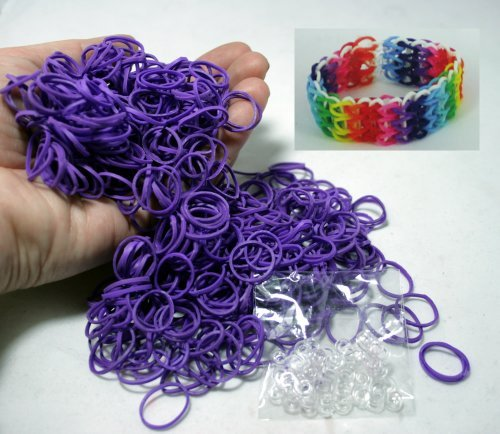 Piece Do-It-Yourself Bracelet Kit Refill Pack, Includes Rubber Band and S-Clips for Loom Art/Kids Craft with Rainbow, Purple by Bluedot Trading ()