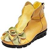 MatchLife Damen Vintage Leder Stiefel Blumen Kurze Boots (EU41/CH42, Style1-Gelb-Fleece)