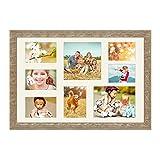 PHOTOLINI Fotocollage-Bilderrahmen 40x60 cm im Strandhaus-Stil Eiche-Optik Collagerahmen Bildergalerie-Rahmen für 8 Bilder Wechselrahmen mit Passepartout