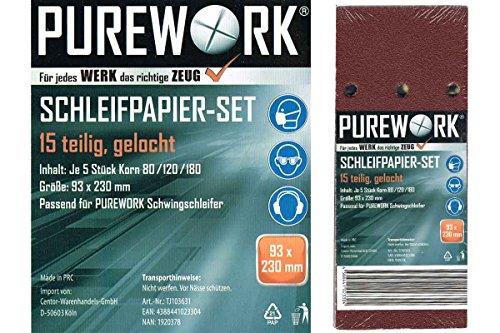 Purework® Schleifpapier Set f. Schwingschleifer 15-teilig - 80/120/180mm
