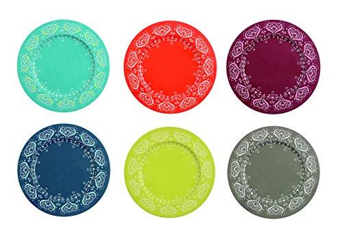 Villa D'Este Mykonos Set di 6 sottopiatti colorati, metallo, 33 x 1.5 cm, multicolore