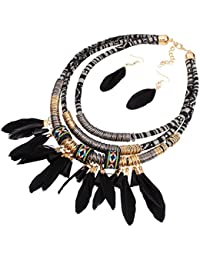 Joyería de Mujer Pendiente Collar Babero Tribal Pluma Borla Estilo de Bohemio