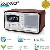 SoundBot Dual Alarm Clock FM Radio Bluetooth Wireless Portable Speaker 3W Output, 1A USB Charging Port, 30 Preset Station, 12/24 Hour Mode Acoustic Premium Driver Hi/Low Dimmer, 3.5mm AUX Port SB1026