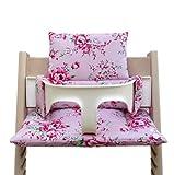 Blausberg Baby - Sitzkissen Kissen Polster Set für Stokke Tripp Trapp Hochstuhl- Einheitsgröße, Happy Flower Rosa (Blumenmuster)