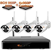 CORSEE GLOBAL5413E, [4ch 960P NVR+4pcs 960P Cameras]CORSEE Plug and Play Wireless Surveillance System,HD Wifi Weatherproof Night Vision Cameras,Support Motion Detection Alarm Fuction and Remote View by IOS or Android App No Hard Drive (DIY & Tools)