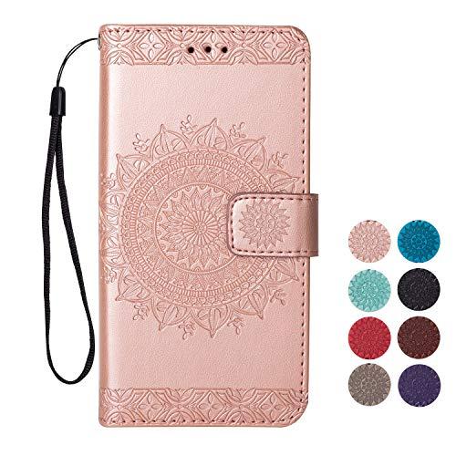 Rose-Otter Kompatibel für Samsung Galaxy S5 Hülle Leder Handyhülle Flip Case Kartenfach Klappbar Stoßfest Bumper Schutzhülle Tasche mit Muster Mandala Blume Rose Gold (Galaxy Für Case Samsung Otter S5)