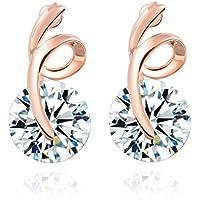 YC Top donna semplice ed elegante ciondolo placcato in oro rosa 18K con zirconi orecchini a perno - Momentum Swing