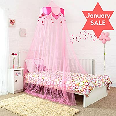 Princess Bed Canopy - Stunning Bobble and Beads Childrens Bed Canopy in Pink - Quick and Easy To Hang Girls Bedroom Accessories - Perfect Gift for Girls, Daughters and Granddaughters