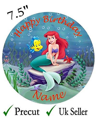 el die kleine Meerjungfrau Essbarer Zuckerguss Kuchen Topper 19,1cm, plastik, schwarz, Rund (Kleine Meerjungfrau-kuchen Topper)