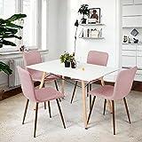 coavas Esszimmerstühle Stoff Kissen Küchentisch Stühle mit stabilen Metallbeine für Esszimmer, 4er Set Rosa