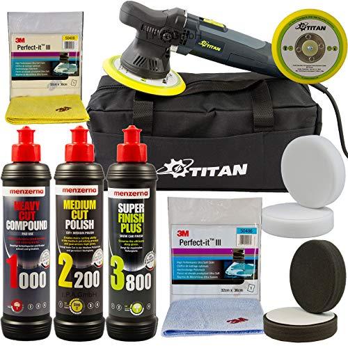 Titan_ Exzenter Poliermaschine 9mm Hub im Menzerna Polierset 1000 2200 3800 + Pads + Poliertücher