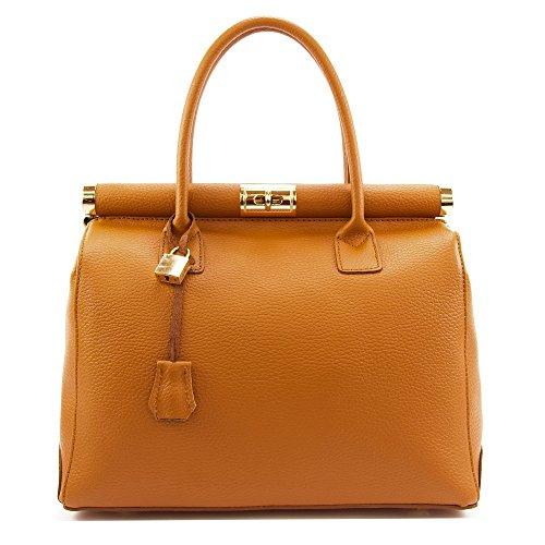 Cortina borsa in pelle con tracolla da donna, stile ed eleganza di un artigianato made in italy, regalo compleanno donna, mamma, amica, borsa a mano, bauletto (marrone chiaro) - include scatola regalo
