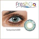 Farbige Jahres Kontaktlinsen, TÜRKIS, weich, ohne Stärke als 2er Pack (2 Stück)- mit Aufbewahrungsbox, angenehm zu tragen, perfekt für helle und dunkle Augen, Party, blau/grün