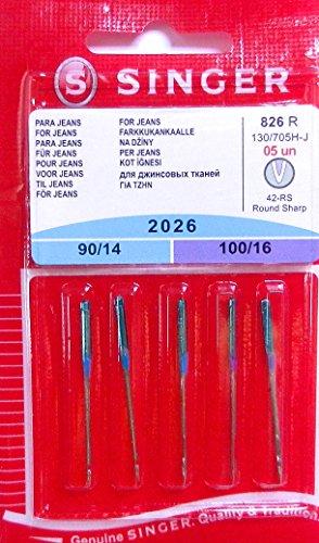 5original Singer coser agujas 2026grosor 90/14y 100/16para Jeans 130/705H de J
