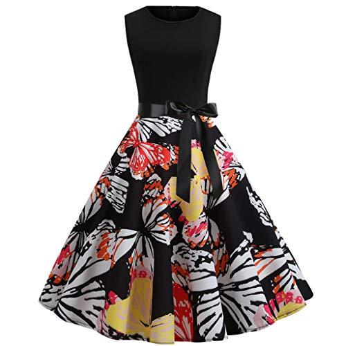 SCEMARK Damen Vintage ärmellose Print lässig Abend Party Prom Swing Kleid Damen Elegant Spitzenkleider Hochzeit Brautjungfer Chiffon Abendkleider