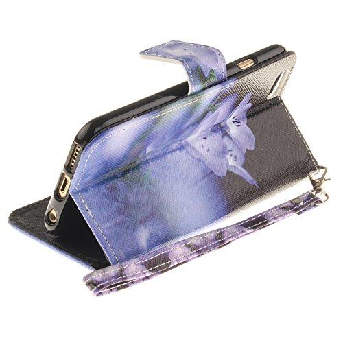 Schutzhülle für iPhone 6s Tasche Schwarz,BtDuck Ultra Thin Brieftasche Bookstyle Geldbörse Wallet Case Flip Cover Schutz Hülle für iPhone 6/6s 4,7 Zoll Handytasche Muster mit Lanyard Tragetasche Bunte Gurt,blau blume