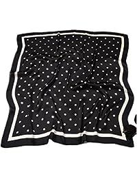 HIDOUYAL Grande Foulard Carré Polyester Silk Like Carreaux Polka Dots 70    70cm 1e6fcedad45
