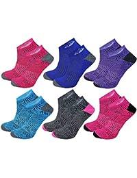 Size 4-8 Yellow Purple Stripe 2 Pairs Ladies Prohike Cushioned Trainer Socks