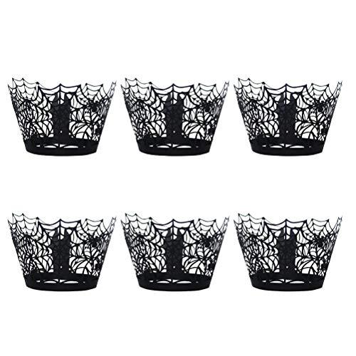 Amosfun Spinnenkuchen-Förmchen für Halloween, 48 Stück (Dekorationen Halloween-cupcakes Einfache)