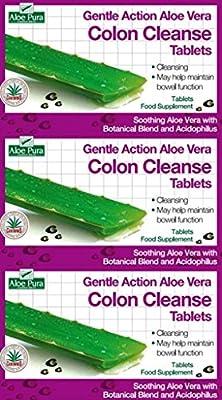 Aloe Pura Aloe Vera Colon Cleanse Gentle Action 30 Tablets x 3 Packs
