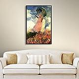 ARTWall Kunstdruck auf Leinwand Claude Monet 's Frau mit Sonnenschirm Galerie verpackt Floater gerahmt Leinwand Traditionell 18x24