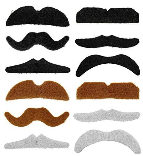 PANELIZE ® Set mit 12 verschiedenen selbstklebenden falschen Schnurrbärten mehrfarbig (Kostümen Und Mit Schnurrbärten)