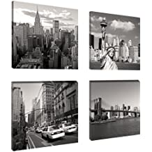 Visario Leinwandbilder 6901 Bild auf Leinwand New York Set, 4 x 20 x 20 cm