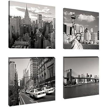 leinwand 3 tlg new york schwarz wei skyline stadt usa bilder wandbild 9a522 holz fertig. Black Bedroom Furniture Sets. Home Design Ideas