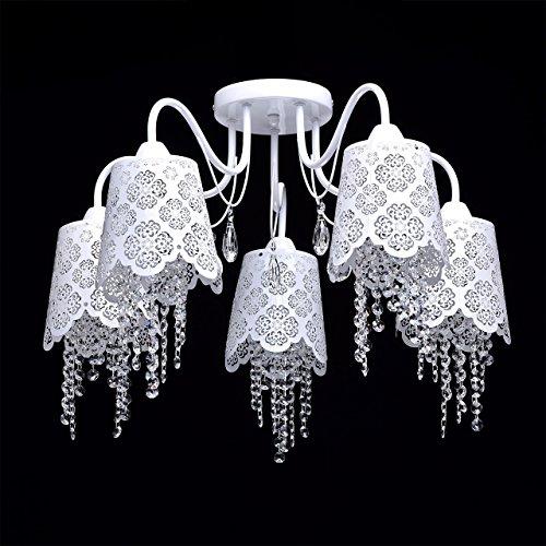 Deckenleuchte Kronleuchter weiß Metall Kristall klar Ø64cm - 3