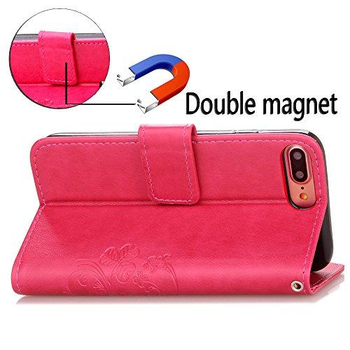 Custodia in pelle per Apple iPhone 7Plus, Ledowp goffrato trifoglio fiore modello pelle PU Flip Case per Apple iPhone 7Plus marrone Brown Pink