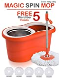 #9: Hugo Mop Bucket Magic Spin Mop Bucket Double Drive Hand Pressure with 5 Microfiber Mop Head Household Floor Cleaning & 4 Color May Vary.