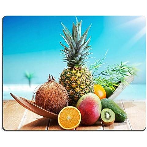 Liili Mouse Pad-Tappetino per Mouse in gomma naturale con immagine: ID 13237748 frutta fresca sulla spiaggia, in un mazzo di fronte di un'isola con palme tropicali, colore: arancione, motivo Ananas, colore: verde lime e avoc e Ananas, mango