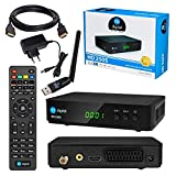 Satelliten SAT Receiver DVB-S DVB-S2 Set: HB DIGITAL HD 250S DVB-S/S2 Receiver + WLAN WiFi Stick (YouTube, RSS, Wetter) + HDMI Kabel (Full HD Ready, HDTV, HDMI, SCART, 2X USB 2.0, SPDIF Koaxial, 12V)