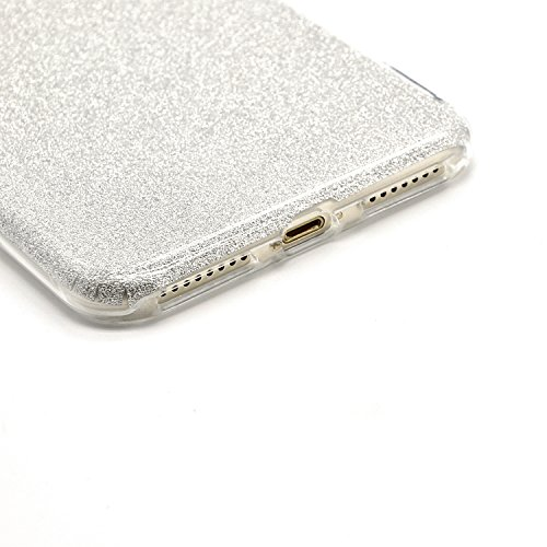 TPU Coque pour iPhone 7 8 4.7 Pouces Case, Vandot iPhone 7 Premium Flexible Soft TPU Housse Etui Coque pour iPhone 8 / iPhone 7 Bling Glitter Sparkle Hull Shell Ultra Mince Shock-Absorption Anti-rayur Souple Case-argent