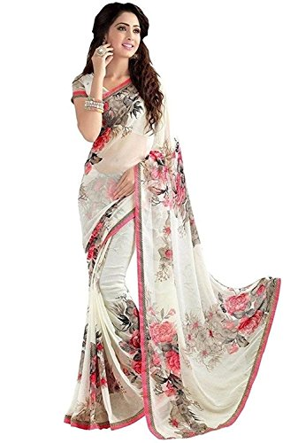 Indira Designer Women's White Color Georgette Saree With Blouse