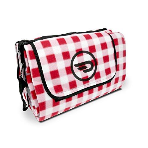 Luxamel Danura Picknickdecke Outdoor Fleece XXL wärmeisoliert wasserdicht mit praktischem Tragegriff 200x175cm (rot/weiß)