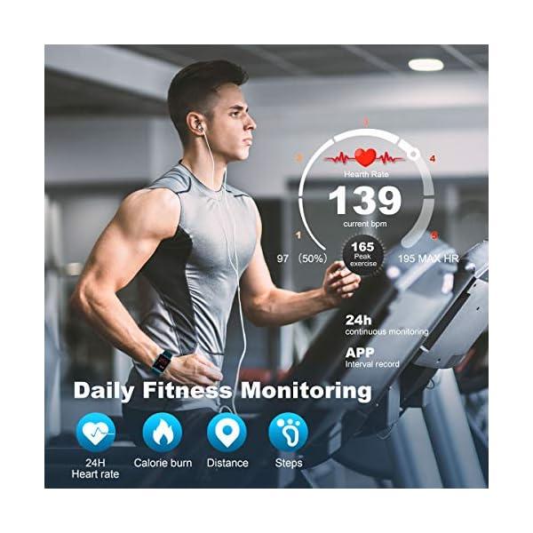 Arbily Reloj Inteligente Pantalla Táctil Completa Pulsera de Actividad Smartwatch Mujer Hombre Niño Reloj Deportivo a Prueba de Nadar Impermeable Podómetro Monitor de Sueño para iOS Android (Azul) 4