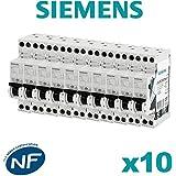 Siemens - Lot de 10 Disjoncteurs électriques phase + neutre 10A