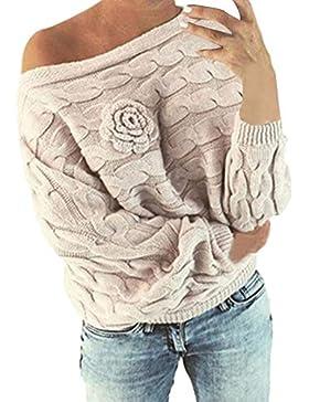 Mujer Jerséis Moda Suéter Largo Casual Jersey Prendas de Punto de Cuello Barco Batwing Mangas Largas Camiseta...
