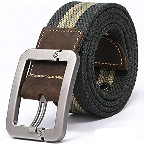 Contever® Sport Cintura - Lega di Zinco Fibbia Tela Belt / All'aperto cinghia in cintola Rapida Disconnetti Per Uomo (Scuro a Righe Verde)