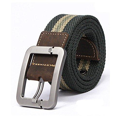 Forepin® Uomo Canvas Web di Svago Della Cinghia Stitch Cintura Regolabile Cintura con Fibbia Kirsite e 9 Buche Cintura in Tessuto Cintura a Vita 2.7-3.1 Piedi (Dark Green