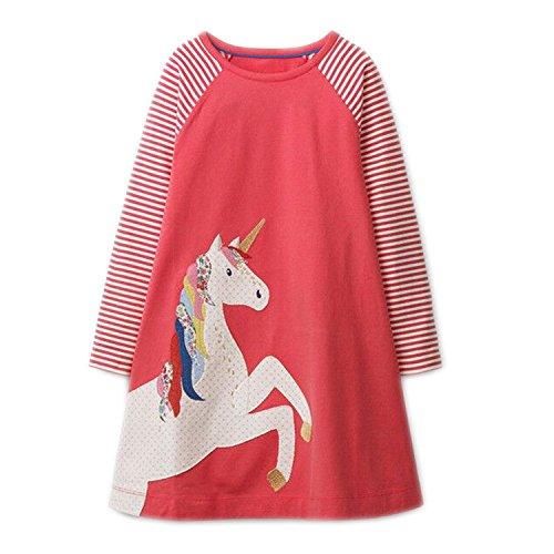 (OHBABYKA Little Girls Cute Casual Baumwolle Tiere gedruckt Streifen Langarm Playwear Kleid (Red Horse, 4T))
