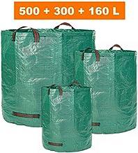 Saco de jardín-3, distintos tamaños en Juego 500ltr, 300ltr y 160ltr-Bolsas de basura de jardín hojas y saco extra resistente-plegable selbststehend-PREMIUM CALIDAD